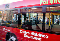 Metrobus publica transportation in the Centro Historico of Mexico City.