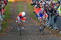 03 NOV 2012 - IPSWICH, GBR - Helen Wyman (GBR) (right) of Great Britain out sprints Sanne van Paassen (NED) of the Netherlands to win the Elite Women's European Cyclo-Cross Championships in a time of 43 minutes and 52 seconds in Chantry Park, Ipswich, Suffolk, Great Britain (PHOTO (C) 2012 NIGEL FARROW)