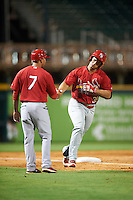Palm Beach Cardinals manager Oliver Marmol (7) congratulates designated hitter Orlando Olivera (39) while running the bases after hitting a home run during a game against the Bradenton Marauders on August 8, 2016 at McKechnie Field in Bradenton, Florida.  Bradenton defeated Palm Beach 5-4 in 11 innings.  (Mike Janes/Four Seam Images)