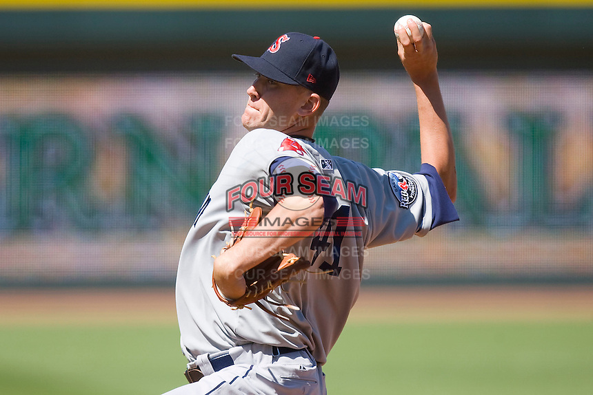 Relief pitcher Michael Lee #41 of the Salem Red Sox in action against the Winston-Salem Dash at  BB&T Ballpark May 9, 2010, in Winston-Salem, North Carolina.  Photo by Brian Westerholt / Four Seam Images