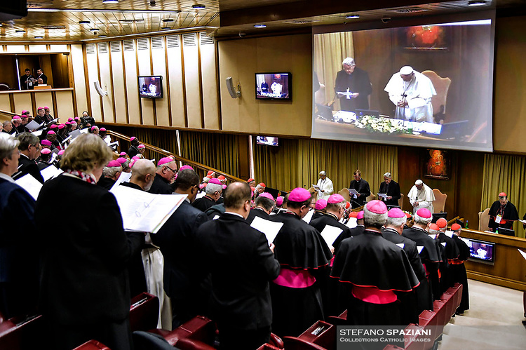 Pope Francis prays during the opening of a global child protection summit for reflections on the sex abuse crisis within the Catholic Church, on February 21, 2019 at the Vatican.