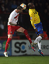 Marcus Haber of Stevenage and William Edjenguele of Coventry challenge for a header. Stevenage v Coventry City - npower League 1 - Lamex Stadium, Stevenage - 26th December, 2012. © Kevin Coleman 2012......