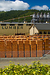 Stacked piles of wood boards at the Pacific Lumber Company Lumber Mill at Scotia, Humboldt County, California