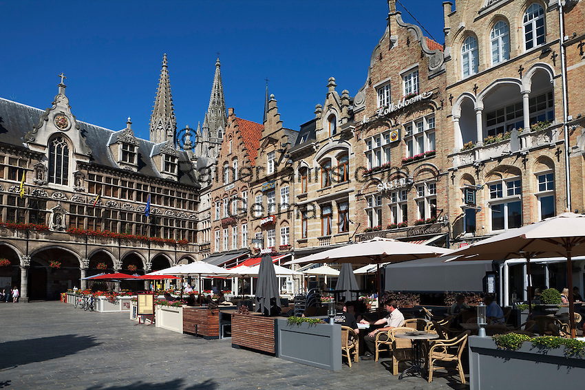 Belgium, West Vlaanderen, Ypres: Flemish gabled buildings with restaurants in Grote Markt, next to the Cloth Halls