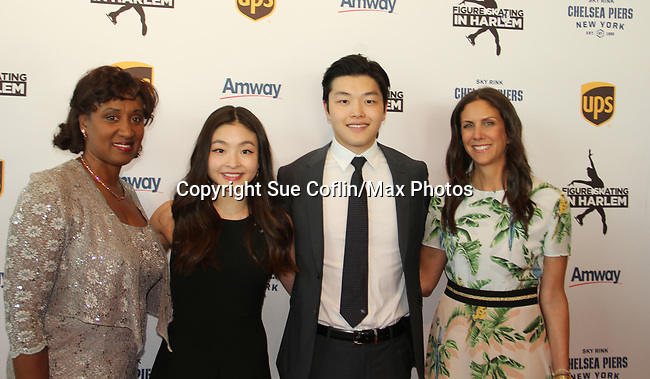 Angela Thompson - Maia & Alex Shibutani - Ellen Lowey at Figure Skating in Harlem's Champions in Life (in its 21st year) Benefit Gala recognizing the medal-winning 2018 US Olympic Figure Skating Team on May 1, 2018 at Pier Sixty at Chelsea Piers, New York City, New York. (Photo by Sue Coflin/Max Photo)