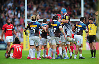 Harlequins players celebrate at the final whistle. Aviva Premiership match, between Harlequins and Saracens on September 24, 2016 at the Twickenham Stoop in London, England. Photo by: Patrick Khachfe / JMP