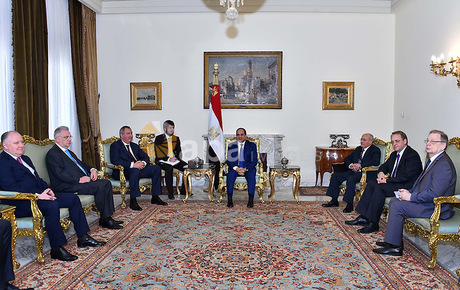 Egyptian President Abdel Fattah el-Sisi, meets with Russian Deputy Prime Minister Dmitry Rogozin in Cairo, Egypt on March 01, 2017. Photo by Egyptian President Office