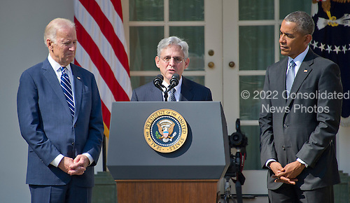 Judge Merrick Garland, chief justice for the United States Court of Appeals for the District of Columbia Circuit, center, US President Barack Obama's, right, nominee to replace the late Associate Justice Antonin Scalia on the U.S. Supreme Court, makes remarks after his nomination in the Rose Garden of the White House in Washington, D.C. on Wednesday, March 16, 2016. US Vice President Joe Biden looks on from the left.<br /> Credit: Ron Sachs / CNP