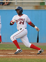 July 16, 2009: Outfielder Jesus Vandel (24) of the Potomac Nationals, Carolina League affiliate of the Washington Nationals, before a game at G. Richard Pfitzner Stadium in Woodbridge, Va. Photo by:  Tom Priddy/Four Seam Images