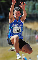 Auckland's Matthew Wyatt competes in the senior men's triple jump on day three of the 2015 National Track and Field Championships at Newtown Park, Wellington, New Zealand on Sunday, 8 March 2015. Photo: Dave Lintott / lintottphoto.co.nz