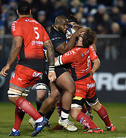 Beno Obano of Bath Rugby takes on the Toulon defence. European Rugby Champions Cup match, between Bath Rugby and RC Toulon on December 16, 2017 at the Recreation Ground in Bath, England. Photo by: Patrick Khachfe / Onside Images