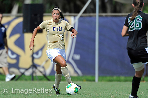 8 September 2013:  FIU midfielder/forward Kim Lopez (7) advances the ball in the second half as the FIU Golden Panthers defeated the Cleveland State University Vikings, 2-0 (called at 73 minutes), at University Park Stadium in Miami, Florida.