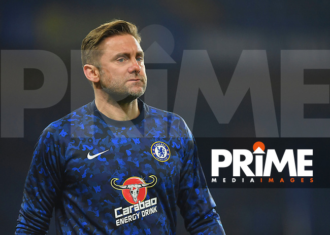 Rob Green of Chelsea warms up during the Carabao Cup Semi-Final 2nd leg match between Chelsea and Tottenham Hotspur at Stamford Bridge, London, England on 24 January 2019. Photo by Vince  Mignott / PRiME Media Images.