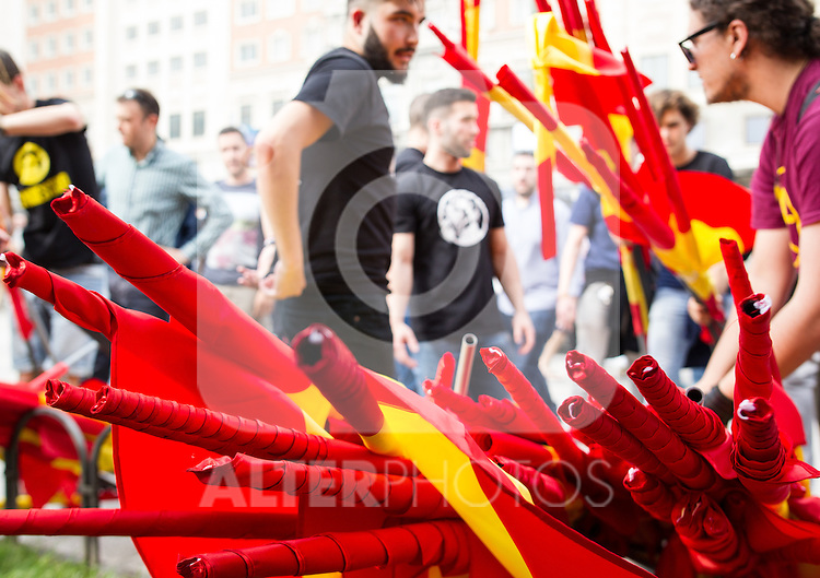 "Flags of the manifestation of far-right group , Hogar Social Madrid under the slogan "" Defend Spain , defend your people "", in the streets of Gran Via , San Bernardo and Plaza Dos de Mayo.  May 21, 2016. (ALTERPHOTOS/Rodrigo Jimenez)"