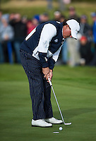 26.09.2014. Gleneagles, Auchterarder, Perthshire, Scotland.  The Ryder Cup.  Phil Mickelson [USA] holes a putt on the seventh hole during Friday Fourballs.