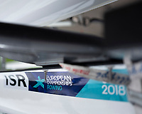 Glasgow, Scotland, Saturday, 4th  August 2018, Israeli Single Scull, with the, event Decals, attached, Signage, at, The European Games, Rowing, Strathclyde Park, North Lanarkshire, © Peter SPURRIER/Alamy Live News