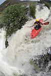 extreme waterfall kayaking on Pit River release with fisheye lens.Matt Thomas