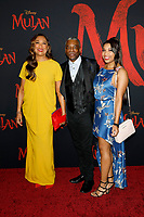 """LOS ANGELES - MAR 9:  Stephanie Cozart Burton, LeVar Burton and Michaela Jean Burton at the """"Mulan"""" Premiere at the Dolby Theater on March 9, 2020 in Los Angeles, CA"""