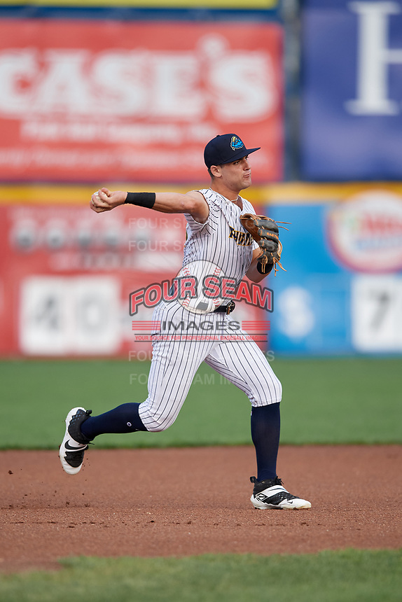 Trenton Thunder third baseman Max Burt (67) throws to first base during an Eastern League game against the New Hampshire Fisher Cats on August 20, 2019 at Arm & Hammer Park in Trenton, New Jersey.  New Hampshire defeated Trenton 7-2.  (Mike Janes/Four Seam Images)