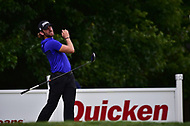 Bethesda, MD - July 2, 2017: Andrew Loupe looses grip of his club while teeing off on the eighteenth hole during final round of professional play at the Quicken Loans National Tournament at TPC Potomac at Avenel Farm in Bethesda, MD.  (Photo by Phillip Peters/Media Images International)