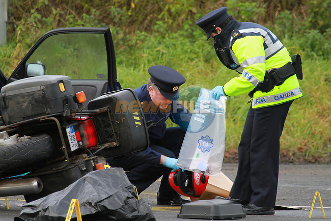 The scene of the fatal road accident at Balrothery Balbriggan, the rider of the motorcycle was pronenced dead at the scene..Picture Fran Caffrey/newsfile.ie..