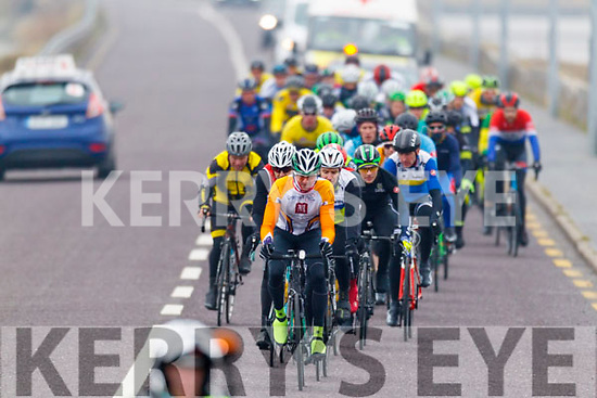 Cyclists in action at the start of the Lacey Cup race on Sunday.