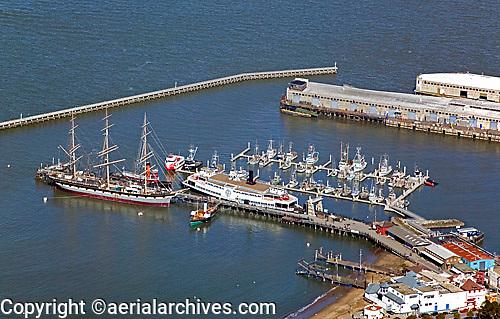 aerial photograph Hyde Street pier ship Balclutha San Francisco, California