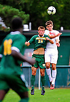 12 September 2010: University of Vermont Catamount midfielder Patrick Alonis, a Senior from Palo Alto, CA, goes up against Cornell University Big Red defender Craig Dimbleby, a Senior from Brockport, NY, at Centennial Field in Burlington, Vermont. The Catamounts defeated the Big Red 2-1. Mandatory Credit: Ed Wolfstein Photo