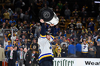 June 12, 2019: St. Louis Blues defenseman Colton Parayko (55) hoists the Stanley Cup at game 7 of the NHL Stanley Cup Finals between the St Louis Blues and the Boston Bruins held at TD Garden, in Boston, Mass.  The Saint Louis Blues defeat the Boston Bruins 4-1 in game 7 to win the 2019 Stanley Cup Championship.  Eric Canha/CSM.