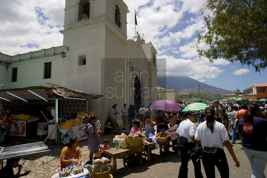 People visit Iglesia San Bartolomé Becerra in Antigua, Guatemala two days before the Procesión de Jesús Nazareno de La Caída from. Each weekend during Lent features a procession by a different church, culminating in Semana Santa, or Holy Week, one of the largest Easter commemorations in Latin America.