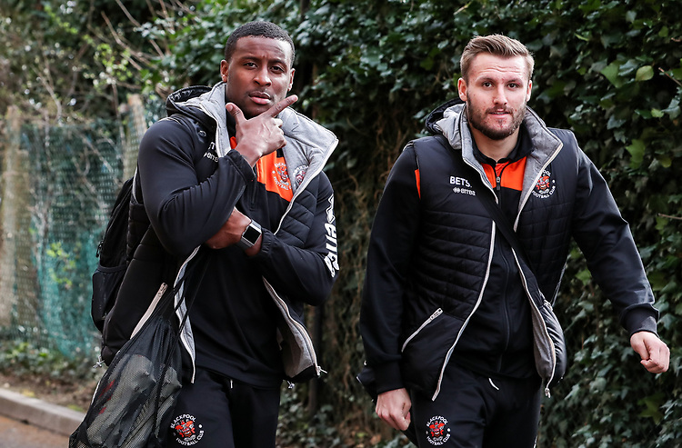 Blackpool's Donervon Daniels and Nick Anderton arriving at the stadium <br /> <br /> Photographer Andrew Kearns/CameraSport<br /> <br /> The EFL Sky Bet League Two - Bristol Rovers v Blackpool - Saturday 2nd March 2019 - Memorial Stadium - Bristol<br /> <br /> World Copyright © 2019 CameraSport. All rights reserved. 43 Linden Ave. Countesthorpe. Leicester. England. LE8 5PG - Tel: +44 (0) 116 277 4147 - admin@camerasport.com - www.camerasport.com