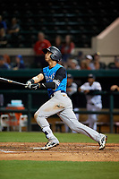 Tampa Tarpons second baseman Oswaldo Cabrera (3) at bat during a Florida State League game against the Lakeland Flying Tigers on April 5, 2019 at Publix Field at Joker Marchant Stadium in Lakeland, Florida.  Lakeland defeated Tampa 5-3.  (Mike Janes/Four Seam Images)