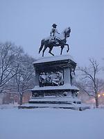 Logan Circle, Washington in the snow.