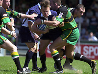 Sport , Rugby, Zurich Championship, 01/06/2002, Bristol v Northampton, Bristol's Phil Christophers is held by the Saints forwards.   [Mandatory Credit, Peter Spurier/ Intersport Images].