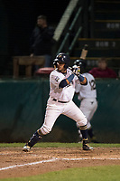 Helena Brewers first baseman Bryan Torres (16) at bat during a Pioneer League game against the Orem Owlz at Kindrick Legion Field on August 21, 2018 in Helena, Montana. The Orem Owlz defeated the Helena Brewers by a score of 6-0. (Zachary Lucy/Four Seam Images)