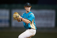 Mooresville Spinners relief pitcher Nolan DeVos (5) (Davidson College) in action against the Lake Norman Copperheads at Moor Park on July 6, 2020 in Mooresville, NC.  The Spinners defeated the Copperheads 3-2. (Brian Westerholt/Four Seam Images)