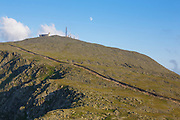 Mount Washington from Mount Clay in Thompson and Meserve's Purchase, New Hampshire. The Appalachian Trail crosses over the summit of Mount Washington. And the Mount Washington Cog Railway is in view.