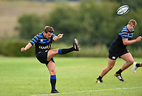Alex Davies of Bath Rugby kicks the ball. Bath Rugby pre-season training on August 8, 2018 at Farleigh House in Bath, England. Photo by: Patrick Khachfe / Onside Images