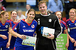 GER - Luebeck, Germany, February 07: During the prize giving ceremony at the Final 4 on February 7, 2016 at Hansehalle Luebeck in Luebeck, Germany. (Photo by Dirk Markgraf / www.265-images.com) *** Local caption *** Best Goalkeepers of the Final4: Nadine Stelter #13 of Mannheimer HC, Lennart Kueppers (TW) #1 of HTC Uhlenhorst Muehlheim