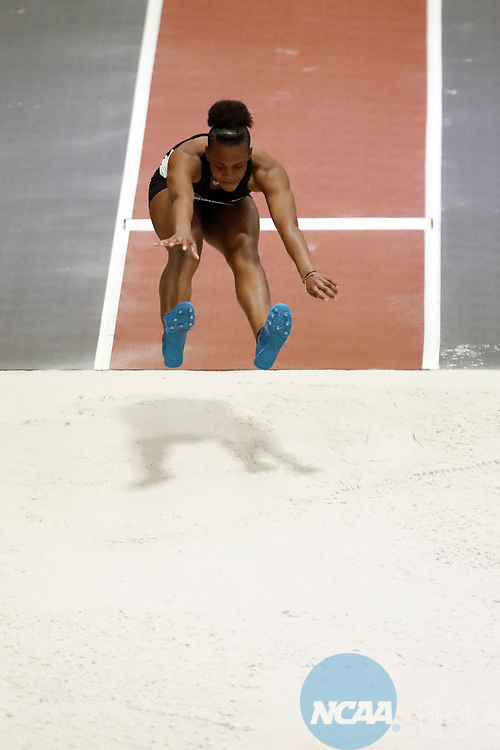 NAPERVILLE, IL - MARCH 11: Amber Edwards of Ramapo College competes in the triple jump at the Division III Men's and Women's Indoor Track and Field Championship held at the Res/Rec Center on the North Central College campus on March 11, 2017 in Naperville, Illinois. (Photo by Steve Woltmann/NCAA Photos via Getty Images)