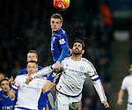 Jamie Vardy of Leicester City rises above Diego Costa of Chelsea - English Premier League - Leicester City vs Chelsea - King Power Stadium - Leicester - England - 14th December 2015 - Picture Simon Bellis/Sportimage