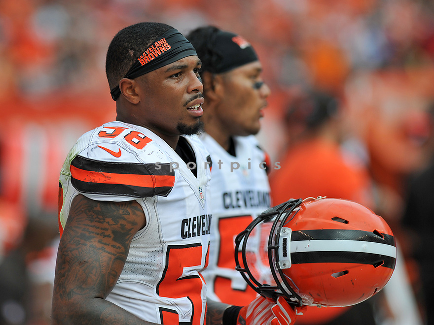 CLEVELAND, OH - JULY 18, 2016: Linebacker Christian Kirksey #58 of the Cleveland Browns watches the action from the sideline in the third quarter of a game against the Baltimore Ravens on July 18, 2016 at FirstEnergy Stadium in Cleveland, Ohio. Baltimore won 25-20. (Photo by: 2017 Nick Cammett/Diamond Images)  *** Local Caption *** Christian Kirksey(SPORTPICS)