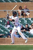 Surprise Saguaros Bubba Thompson (21), of the Texas Rangers organization, at bat during the Arizona Fall League Championship Game against the Salt River Rafters on October 26, 2019 at Salt River Fields at Talking Stick in Scottsdale, Arizona. The Rafters defeated the Saguaros 5-1. (Zachary Lucy/Four Seam Images)