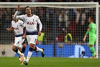 Erik Lamela of Tottenham Hotspur celebrates scoring the second goal during Tottenham Hotspur vs FC Barcelona, UEFA Champions League Football at Wembley Stadium on 3rd October 2018