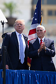 United States President Donald J. Trump and Vice President Mike Pence as Trump prepares to deliver remarks during the the 37th Annual National Peace Officers' Memorial Service on the West Front of the United States Capitol Building in Washington, DC on May 15, 2018. Credit: Alex Edelman / CNP