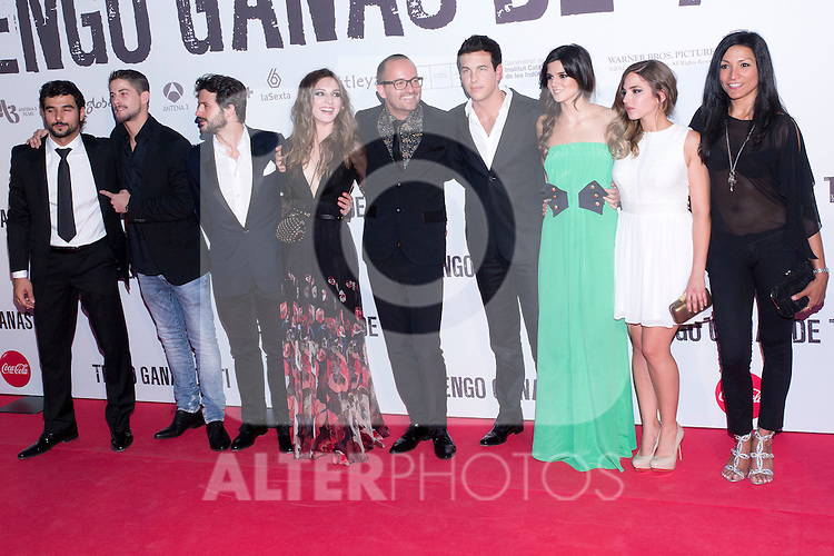 20.06.2012. Premier in the Callao cinema in Madrid in the ´Tengo Ganas de Ti´,  directed by Fernando Gonzalez Molina and starring Mario Casas, Clara Lago and Maria Valverde. In the image Antonio Velazquez, Luis Fernandez, Diego Martin, Maria Valverde, Fernando Gonzalez Molina, Mario Casas, Clara Lago, Marina Salas and Carmen Elias  (Alterphotos/Marta Gonzalez)