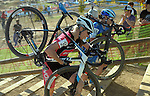 October 17, 2015 - Boulder, Colorado, U.S. - Elite cyclists, Melissa Barker #39 and Georgia Gould #69, reach the top of a long run-up during the U.S. Open of Cyclocross, Valmont Bike Park, Boulder, Colorado.