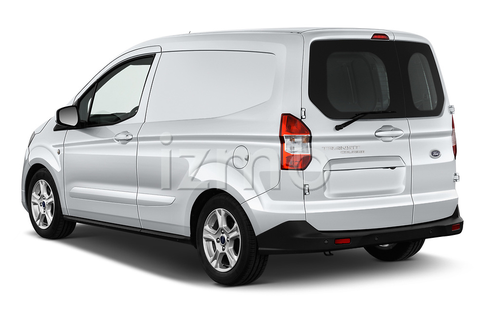 Car pictures of rear three quarter view of a 2018 Ford transit courier Limited 4 Door Car Van angular rear