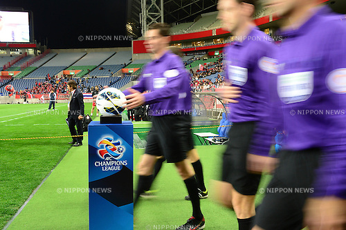 General view,.MARCH 12, 2013 - Football / Soccer :.The referee takes the official match ball before the AFC Champions League Group F match between Urawa Red Diamonds 4-1 Muangthong United at Saitama Stadium 2002 in Saitama, Japan. (Photo by AFLO)