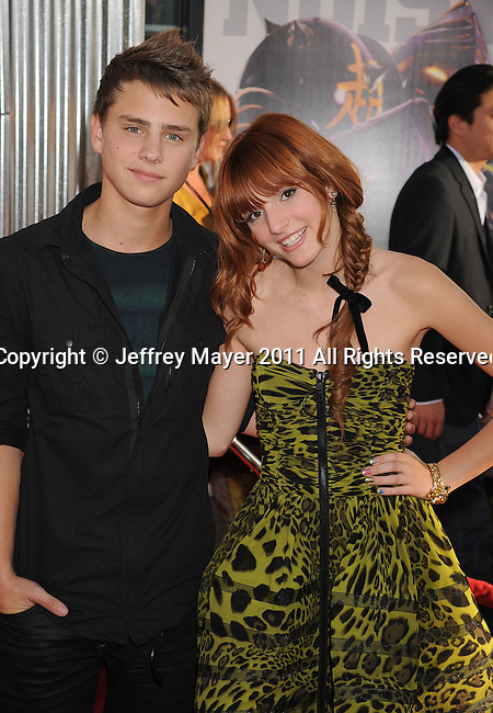 "UNIVERSAL CITY, CA - OCTOBER 02: Garrett Backstrom and Bella Thorne attend the ""Real Steel"" Los Angeles Premiere at Gibson Amphitheatre on October 2, 2011 in Universal City, California."